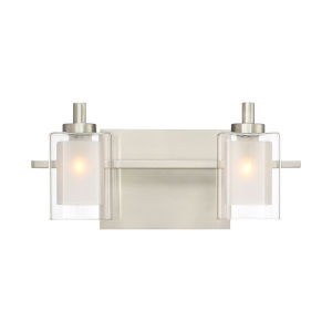 Kolt Brushed Nickel LED Two-Light Bath Light