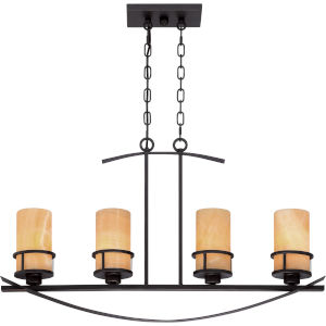 Kyle Dark Bronze with Antique Gold Four-Light Pendant