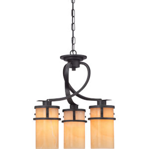 Kyle Dark Bronze with Antique Gold Three-Light Chandelier