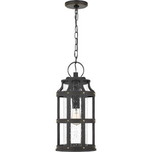 Lassiter Palladian Bronze 9-Inch One-Light Outdoor Hanging Lantern with Clear Seedy Glass