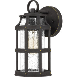 Lassiter Palladian Bronze 11-Inch One-Light Outdoor Lantern with Clear Seedy Glass
