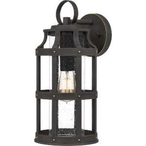Lassiter Palladian Bronze 16-Inch One-Light Outdoor Lantern with Clear Seedy Glass