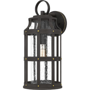 Lassiter Palladian Bronze 19-Inch One-Light Outdoor Lantern with Clear Seedy Glass