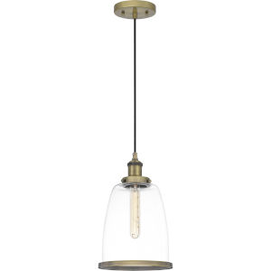 Leo Antique Brass 8-Inch One-Light Mini Pendant with Clear Glass