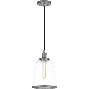 Leo Antique Nickel 8-Inch One-Light Mini Pendant with Clear Glass