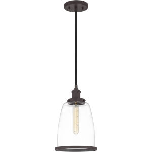 Leo Old Bronze 8-Inch One-Light Mini Pendant with Clear Glass