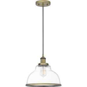 Leo Antique Brass 12-Inch One-Light Pendant with Clear Glass