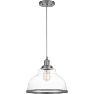 Leo Antique Nickel 12-Inch One-Light Pendant with Clear Glass