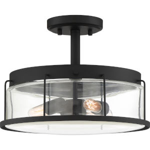 Ludlow Earth Black 13-Inch Three-Light Semi-Flush Mount