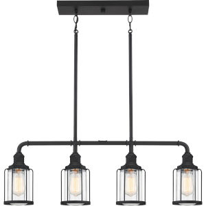 Ludlow Earth Black 34-Inch Four-Light Island Chandelier