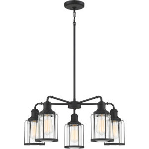 Ludlow Earth Black 25-Inch Five-Light Chandelier