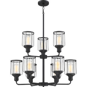 Ludlow Earth Black 28-Inch Nine-Light Chandelier