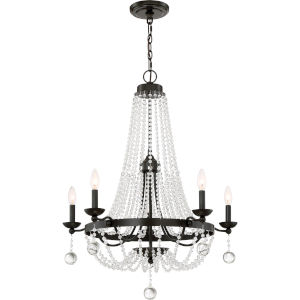 Livery Western Bronze 28-Inch Five-Light Chandelier