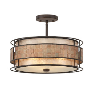 Mica Renaissance Copper Three-Light Semi-Flush