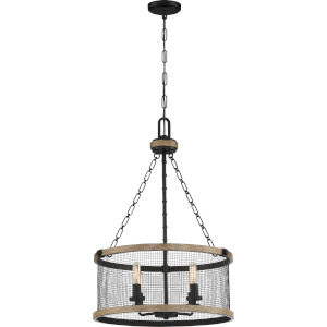 Mccrady Matte Black Four-Light Pendant with Metal Mesh