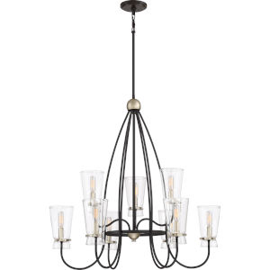 Midnight Western Bronze Nine-Light Chandelier