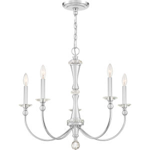 Mila Polished Chrome Five-Light Chandelier