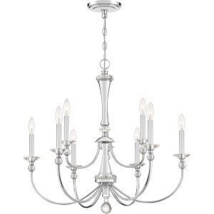 Mila Polished Chrome Nine-Light Chandelier