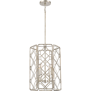 Mission Rubbed Silver 16-Inch Four-Light Pendant