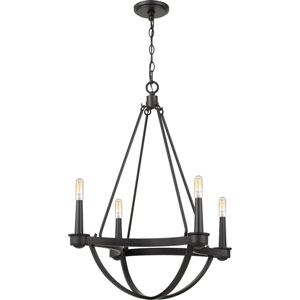 Mooring Earth Black 25-Inch Four-Light Chandelier