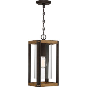 Marion Square Rustic Black 8-Inch One-Light Outdoor Hanging Lantern with Clear Glass