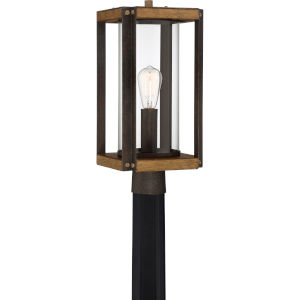 Marion Square Rustic Black One-Light Outdoor Post Lantern with Transparent Glass