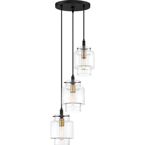 Naomi Earth Black 13-Inch Three-Light Pendant