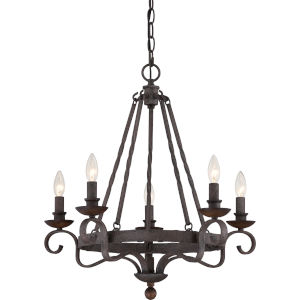 Noble Rustic Black Five-Light Chandelier