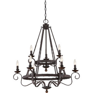 Noble Rustic Black Nine-Light Chandelier