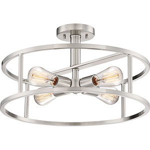New Harbor Brushed Nickel Four-Light Semi Flush Mount