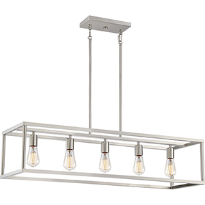 New Harbor Brushed Nickel Five-Light Linear Pendant