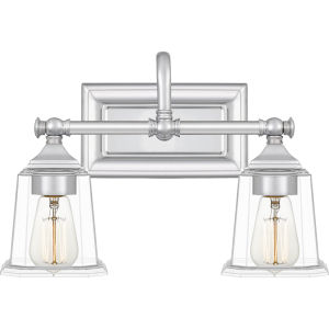 Nicholas Polished Chrome Two-Light Bath Vanity with Transparent Glass