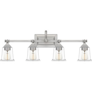Nicholas Brushed Nickel Four-Light Bath Vanity with Transparent Glass
