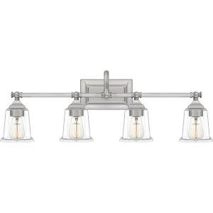 Nicholas Brushed Nickel Four-Light Bath Vanity with Transparent Glass