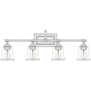 Nicholas Polished Chrome Four-Light Bath Vanity with Transparent Glass