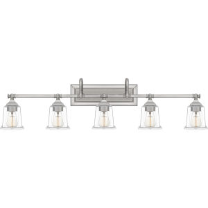 Nicholas Brushed Nickel Five-Light Bath Vanity with Transparent Glass