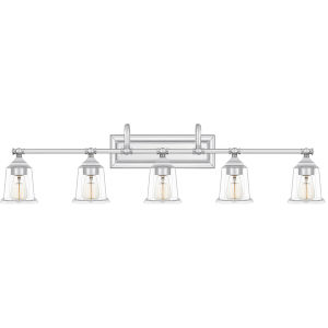 Nicholas Polished Chrome Five-Light Bath Vanity with Transparent Glass
