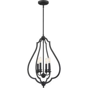 Okeefe Matte Black Four-Light Pendant