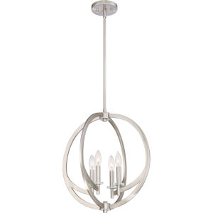 Orion Brushed Nickel Four-Light Orb Pendant
