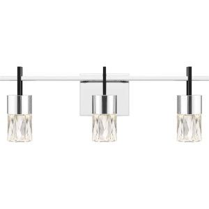 Adena Polished Chrome Three-Light LED Bath Vanity