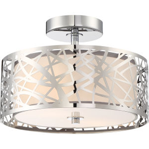 Platinum Collection Abode 12-Inch Polished Chrome Two-Light Semi-Flush Mount