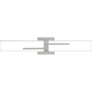Allison Brushed Nickel 24-Inch Integrated LED ADA One-Light Bath Vanity with Etched White Painted Glass