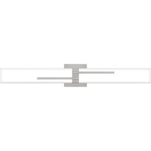 Allison Brushed Nickel 29-Inch Integrated LED ADA One-Light Bath Vanity with Etched White Painted Glass