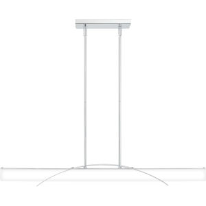 Blade Polished Chrome Integrated LED One-Light Island Chandelier with White Etched Glass