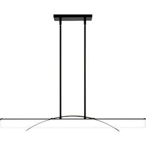 Blade Earth Black Integrated LED One-Light Island Chandelier with White Etched Glass