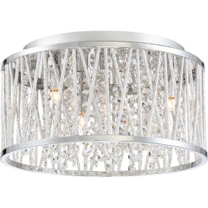 Platinum Collection Crystal Cove Polished Chrome LED Four-Light Flush Mount