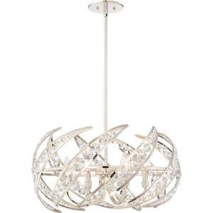 Platinum Collection Crescent Polished Nickel Six-Light Pendant
