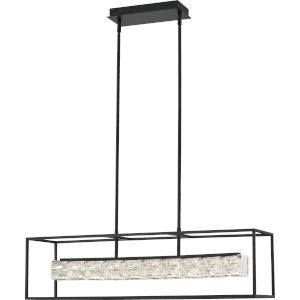 Dazzle Matte Black Integrated LED One-Light Island Chandelier with Crystal