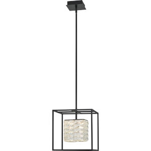 Dazzle Matte Black Integrated LED One-Light Pendant with Crystal