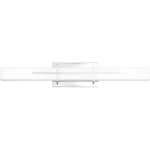 Gemini Polished Chrome 28-Inch Integrated LED One-Light Bath Vanity with Opal Etched Glass